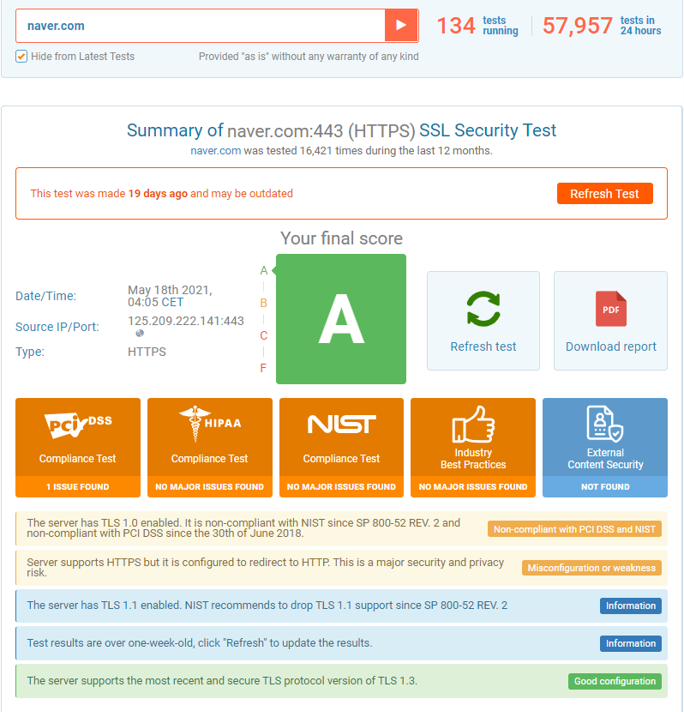 ssl 보안등급테스트 naver2